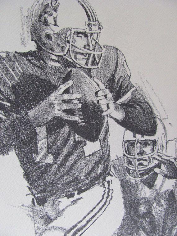 Vintage football print poster sketch steve grogan 11 x 14