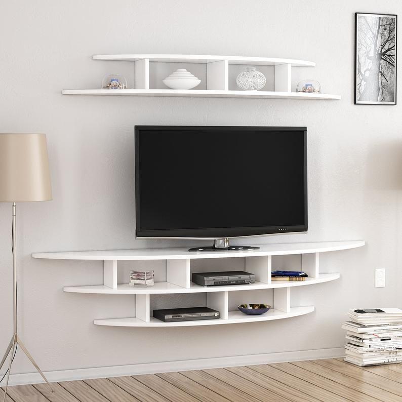 Alvino Wall Mounted Tv Unit Freestanding White Modern Etsy In