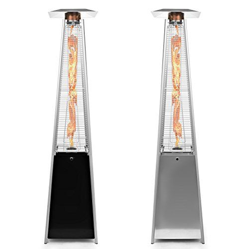 Merveilleux Thermo Tiki Deluxe Propane Outdoor Patio Heater   Pyramid Style W/ Dancing  Flame (Floor Standing)   Black Finish