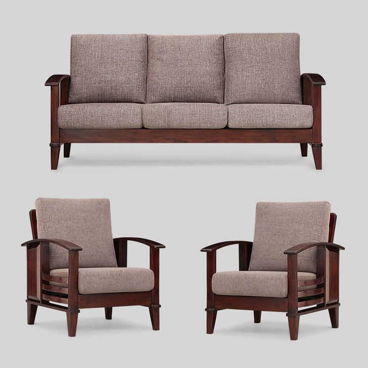 Elmwood Aosta Sofa Set 3 1 1 Grey And Honey Sofas Sectionals Sofa Set Wooden Sofa Set Sofa Design