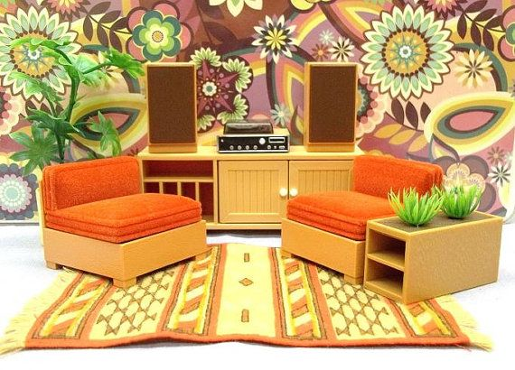 70s living room furniture upcycle tomy dollhouse furniture 1970s kitchenbathliving roomdining room 70s