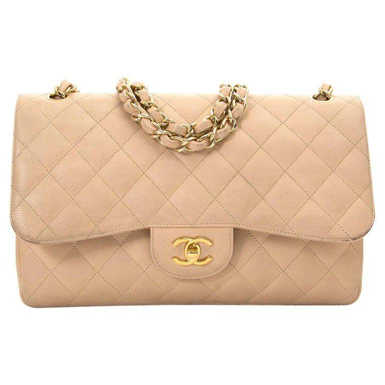 2ff8c6ed2325cb Chanel Jumbo Beige Double Classic Flap Bag Caviar Ghw Chanel Jumbo, Caviar,  Dust Bag