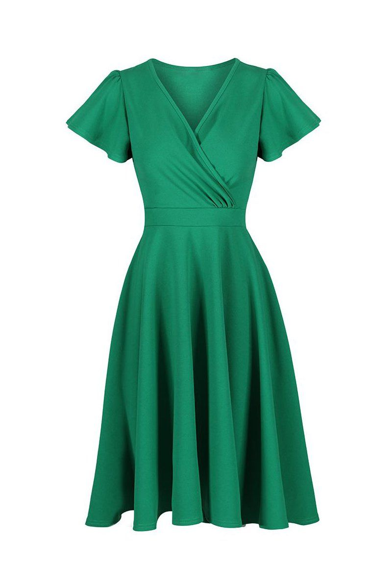 55c2dd3ff4f1 Emerald Green Gathered Cap Sleeve Crossover 50s Swing Dress in 2019 ...