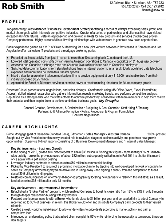Regional Sales Manager Professional Resume Sample