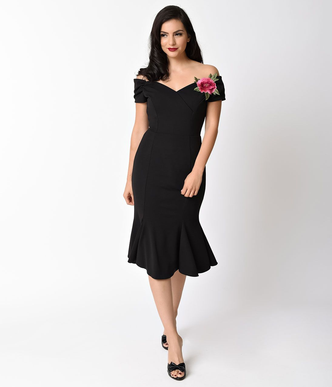 7c5fd72cef3 Wiggle Dresses 1940s Style Black Crepe Off Shoulder Fatale Wiggle Dress Size  UK 18 $162.00 AT vintagedancer.com