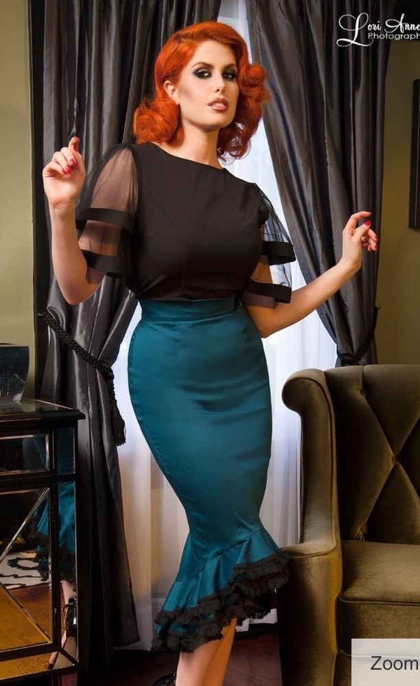 Sold Out Pinup Girl Clothing DEADLY DAMES FLAMENCO MERMAID SKIRT TEAL Small $108