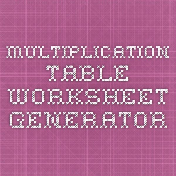 Multiplication Tables Worksheets Generator multiplication table – Math Worksheet Generator Multiplication