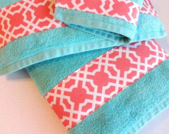 Set Of Aqua And Coral Bath Towels Aqua Towels Aqua And Coral - Coral color bathroom rugs for bathroom decorating ideas