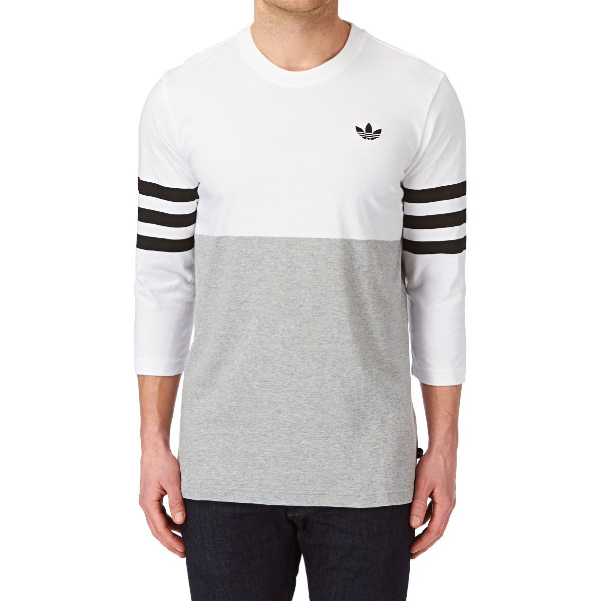 Adidas originals stripesback long sleeve t shirt white Mens long sleeve white t shirt