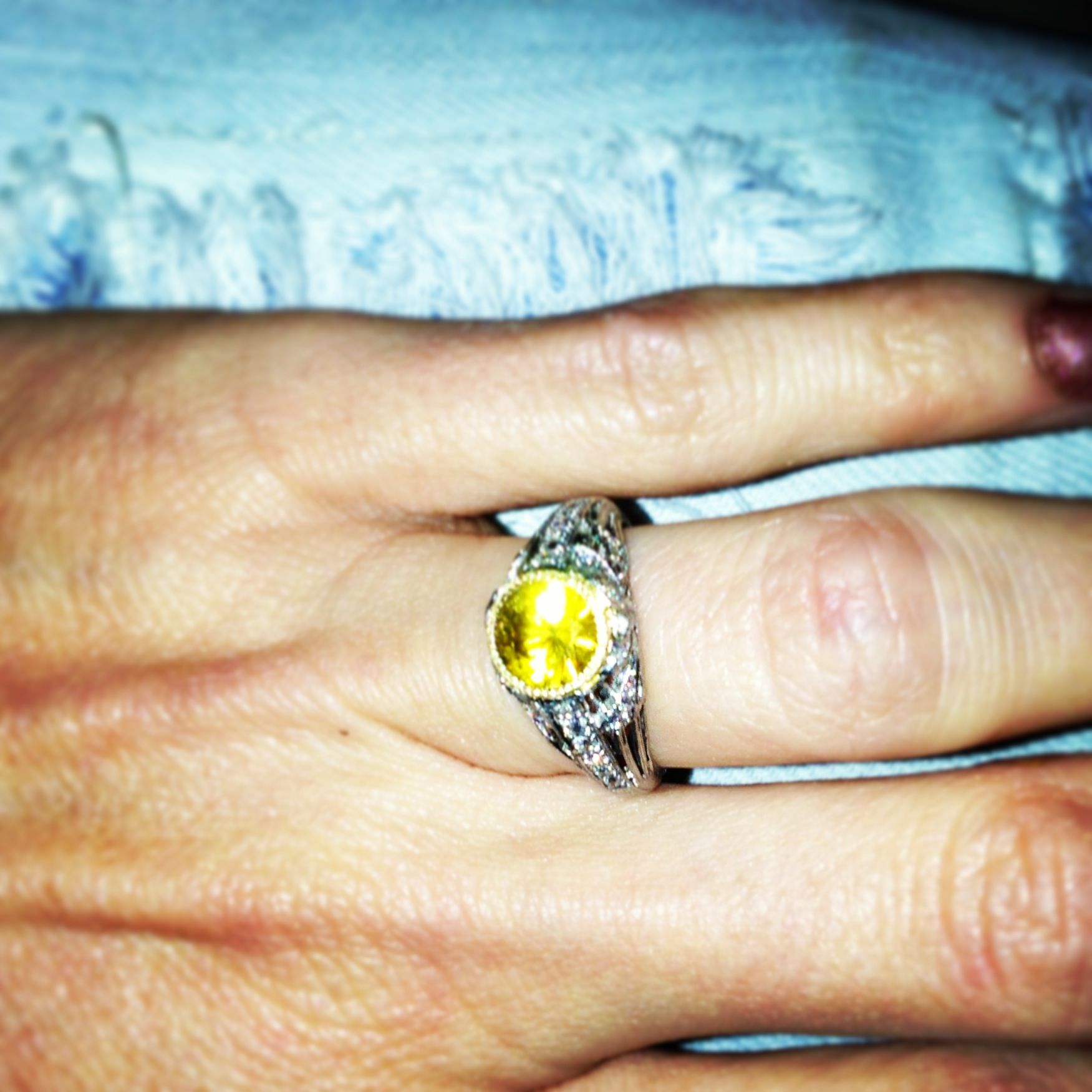 Bling. Yellow Sapphire and vintage band. Gold bezel. I'm gonna be a wifey