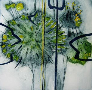 Gorse in Bloom 25 x 25cm Drypoint with Chine Collé