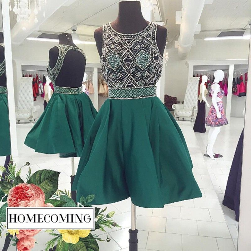 Green Homecoming Dresses,Beading Bodice Homecoming Dresses,Open Back Homecoming Dresses,Short Party Dresses, Cocktail Dresses,HD220