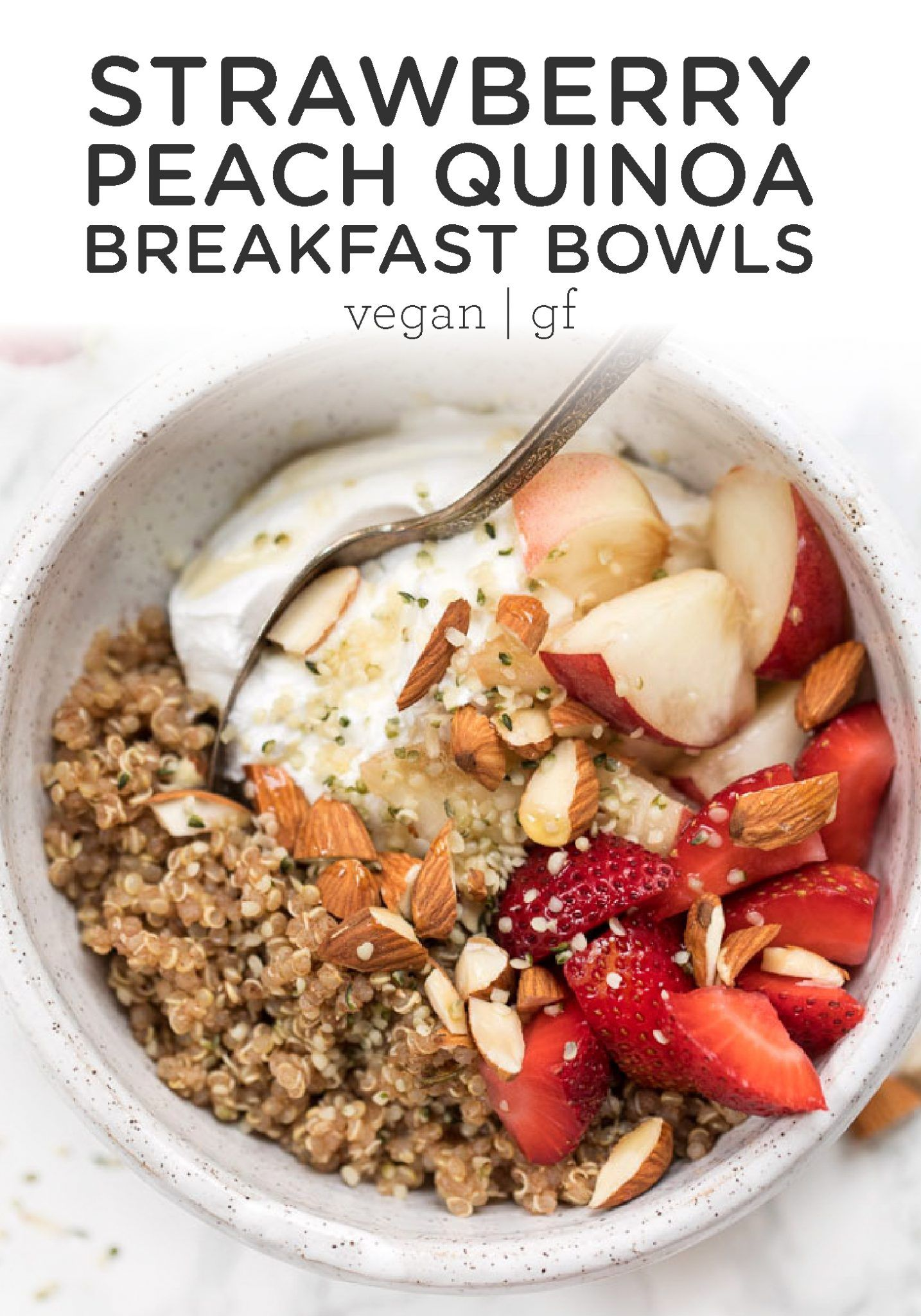 Strawberry Peach Quinoa Breakfast Bowls Simply Quinoa Recipe Breakfast Bowls Yogurt Breakfast Bowl Quinoa Breakfast Bowl
