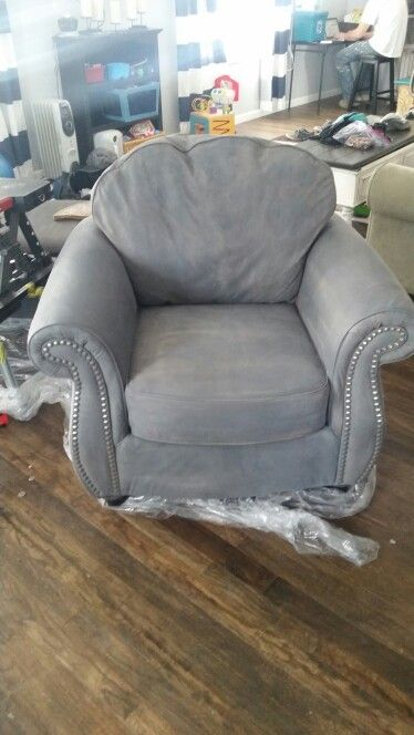 High Quality Painted Suede Chair. Watered Down Chalk Paint, 3 4 Coats, Dry And