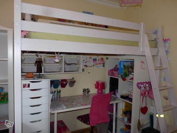 Lit mezzanine 1 place pin massif blanc ameublement h rault b - Lit mezzanine blanc 1 place ...