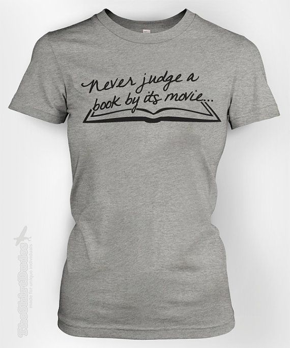 358794377 Never judge a book by its movie - humor funny librarian loves to read  chapter watch geeky nerdy bookworm text tshirt t-shirt tee shirt on Etsy,  $14.95