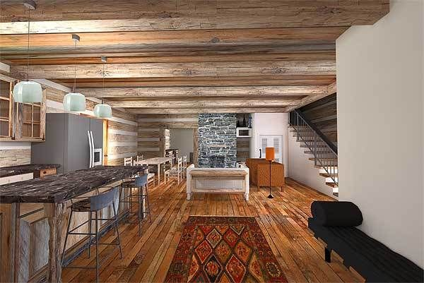 Plan 13335WW Log Home with a Surprising Amount of Space Bunk - plan de maison moderne 3d