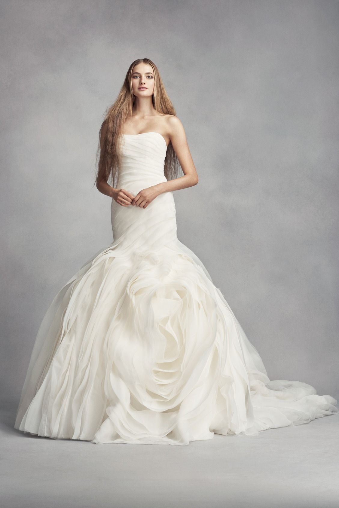 WHITE by Vera Wang Bias-Tier Trumpet Wedding Dress available at ...