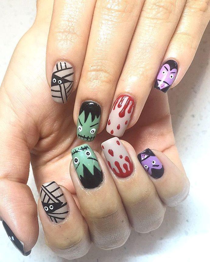 Frankenstein halloween nail design   Nailed It   Pinterest ...
