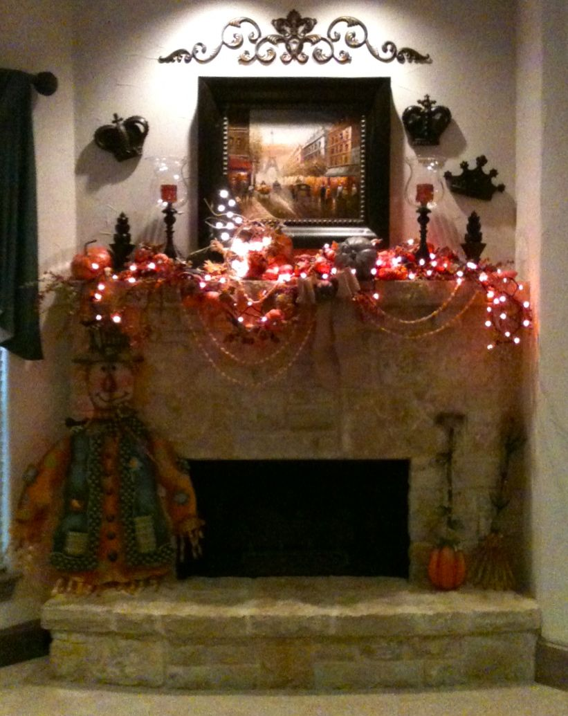 My family room fireplace decorations at Halloween Halloween Decor - halloween house decoration