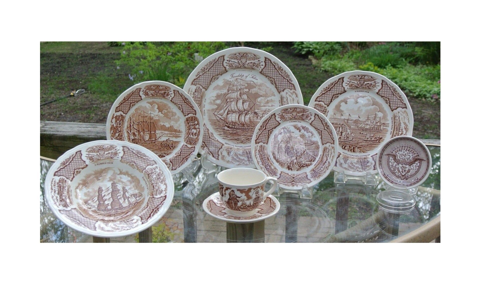 Fairwinds Customer Service >> 16 Pieces Alfred Meakin China Fair Winds Brown Service For