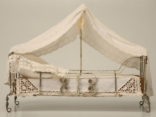 charming antique white wash furniture | Charming hand-formed antique French metal canopy bed with ...