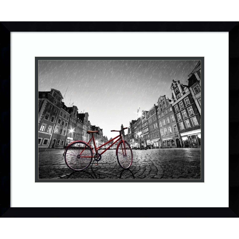 Framed Art Print Red Bike On Cobblestone Street 21 X