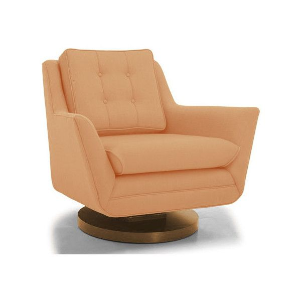 Marvelous Eastwood Mid Century Modern Orange Swivel Chair (6,165 MYR) ❤ Liked On  Polyvore Featuring