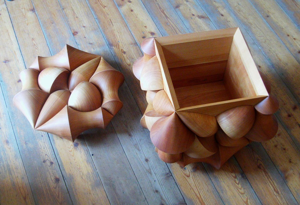 Cube Illusion Lidded Case by Laszlo Tompa Wood patterns