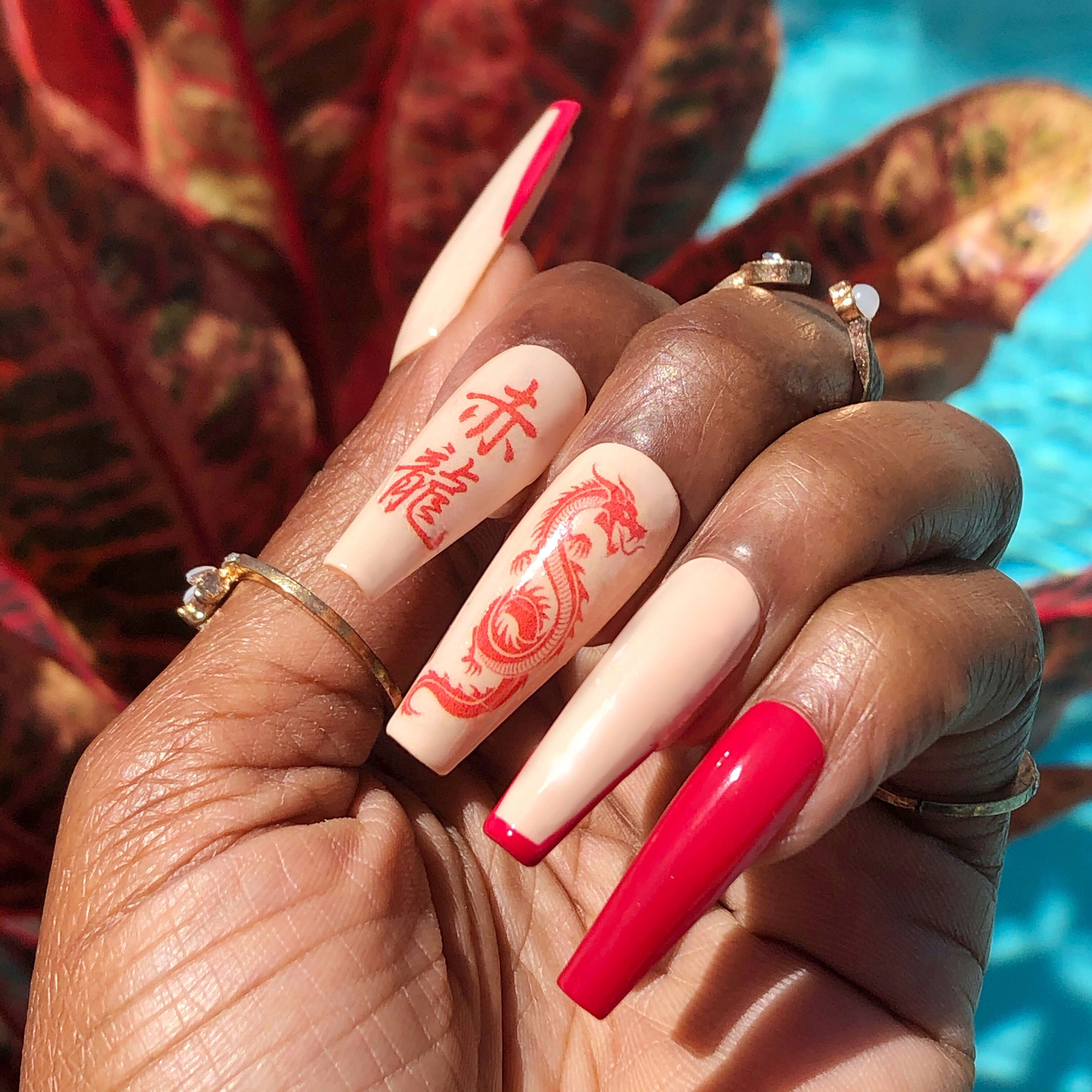 Red Dragon Press On Nails In 2020 Red Acrylic Nails Dragon Nails Glitter Nails Acrylic