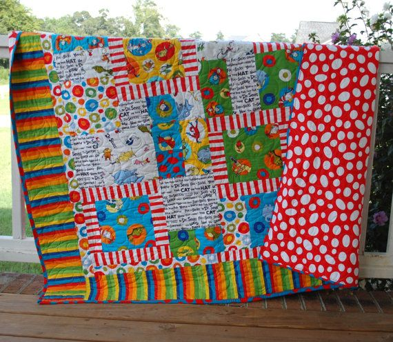 Hey, I found this really awesome Etsy listing at http://www.etsy.com/listing/159955062/celebrate-seuss-dr-seuss-kids-quilt-and