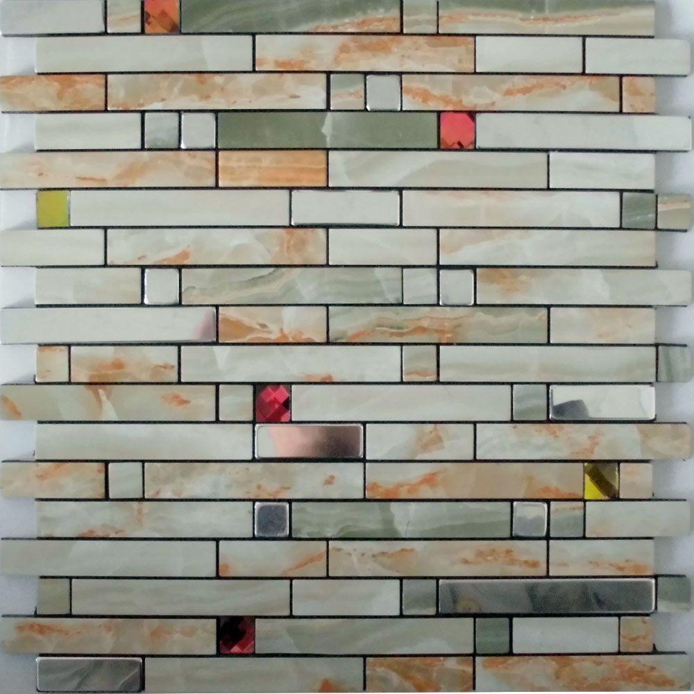 Adhesive Mosaic Tiles Strip Silver Aluminum Kitchen Backsplash Peel
