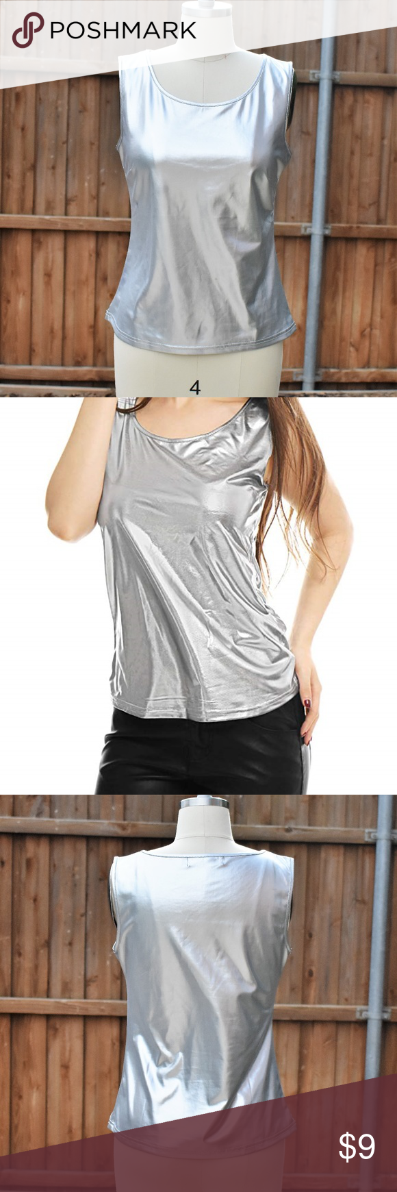 0e128e49166f3d Allegra K Stretchy Slim Fit Metallic Silver Top Cute top worn only once for  a dance