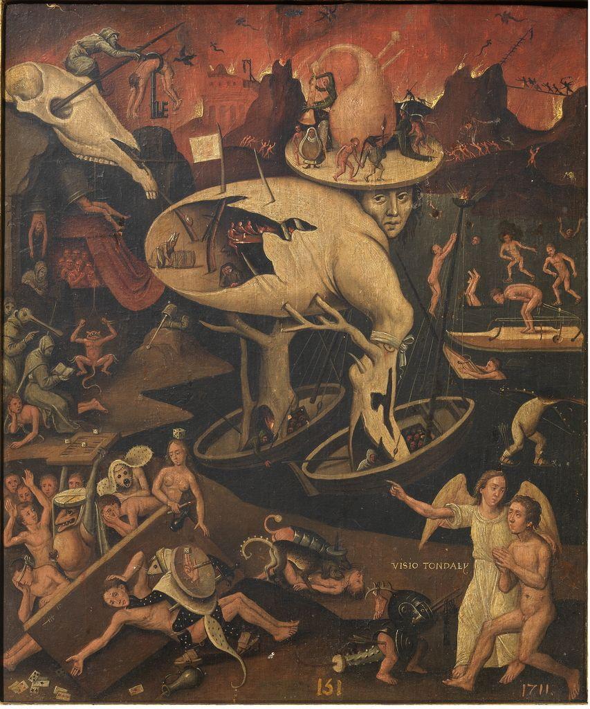 """El Bosco (Copia), """"Fantasía moral (Visio tondali)"""", siglo XV, óleo sobre tabla, 29 x 24 cm"""