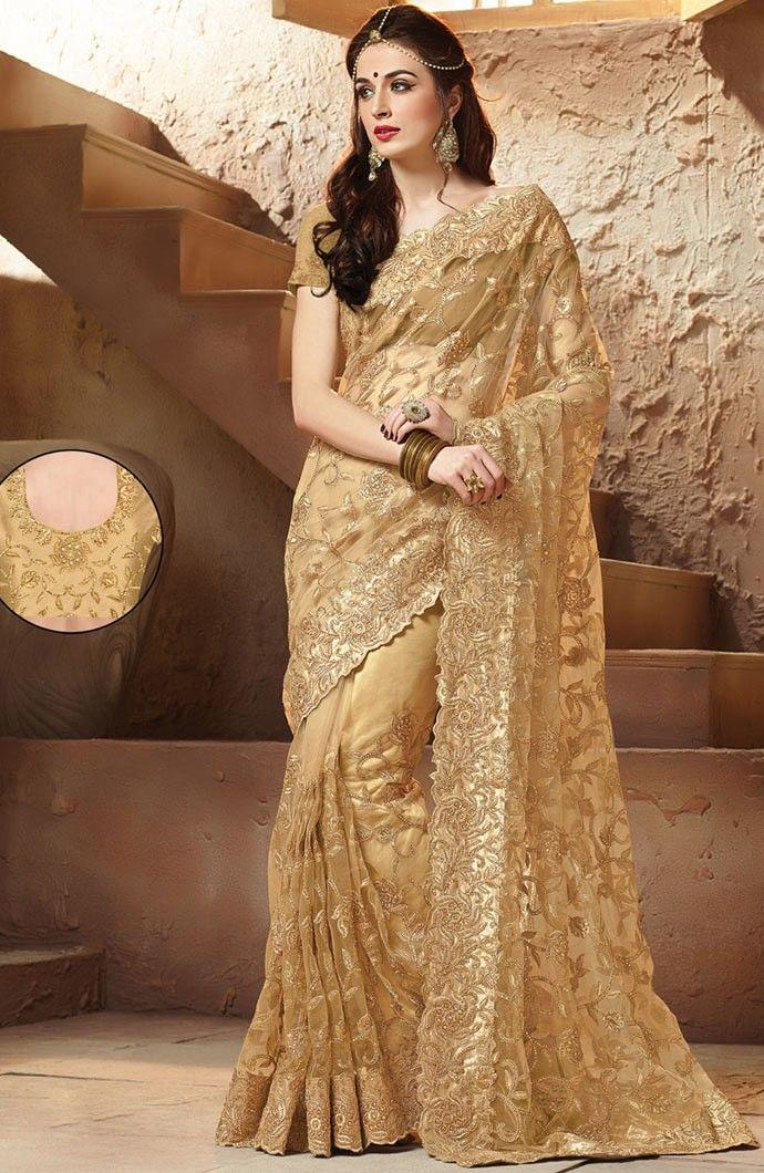 dd5d9e67a8 Brown #Designer #Net #Saree with Blouse | Net Saree Online | Saree ...
