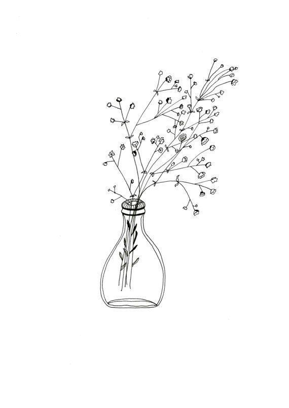 Schöne weiße Blumen in einer einfachen Glasvase Illustration £ 4- £ 12 auf ... #minimalisthomedecor