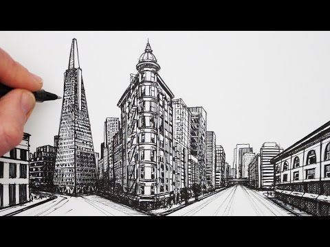 How To Draw Using 1 Point Perspective Draw A View Of Venice Youtube 2 Point Perspective Drawing Perspective Drawing Point Perspective
