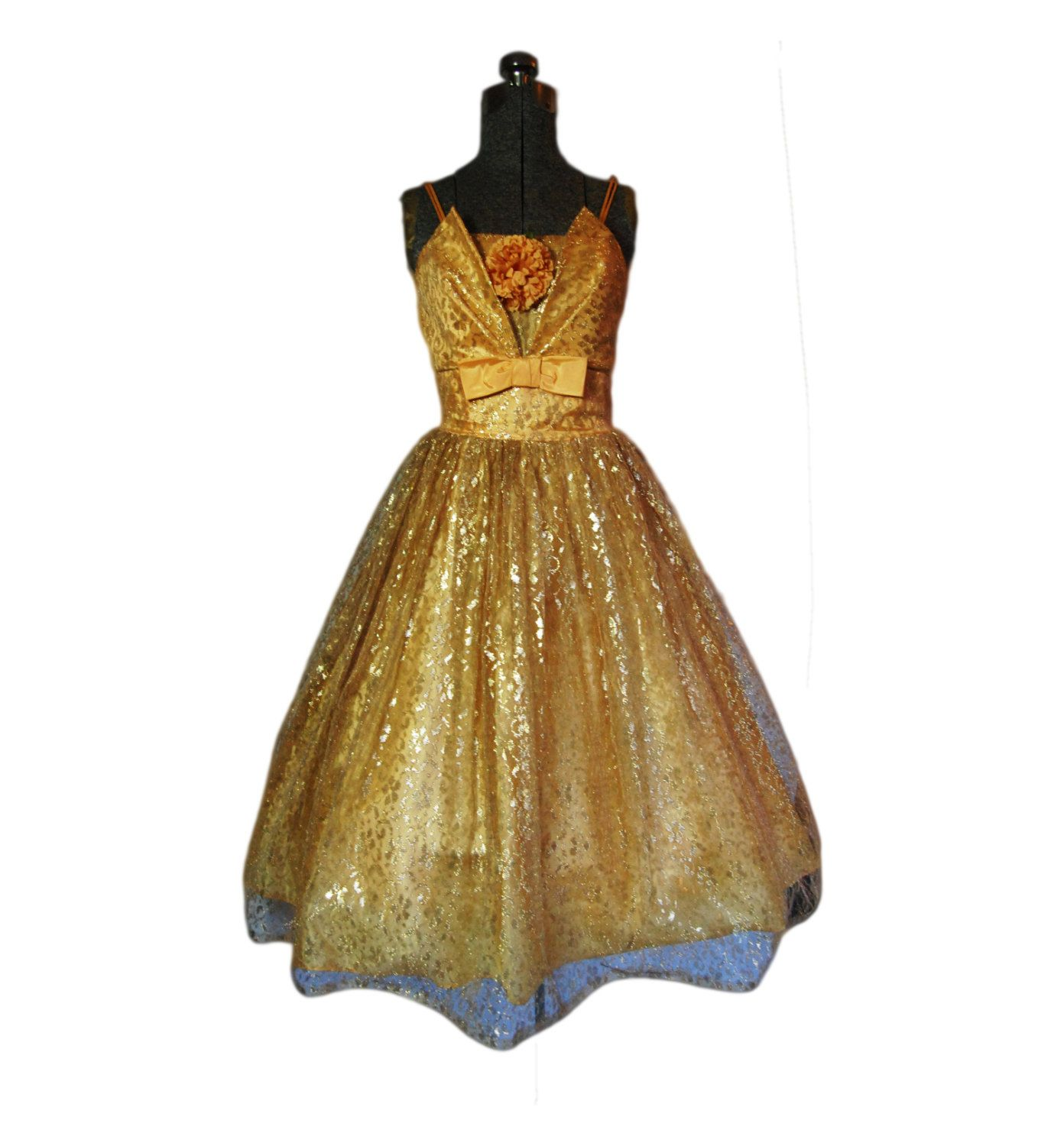 Vintage s dress gold lace full skirt party prom cocktail