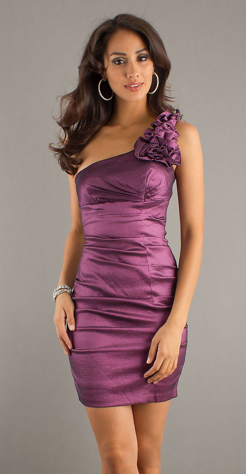 Short Plum Cocktail Gown One Strap Tight Fitting Above Knee $78.99 ...