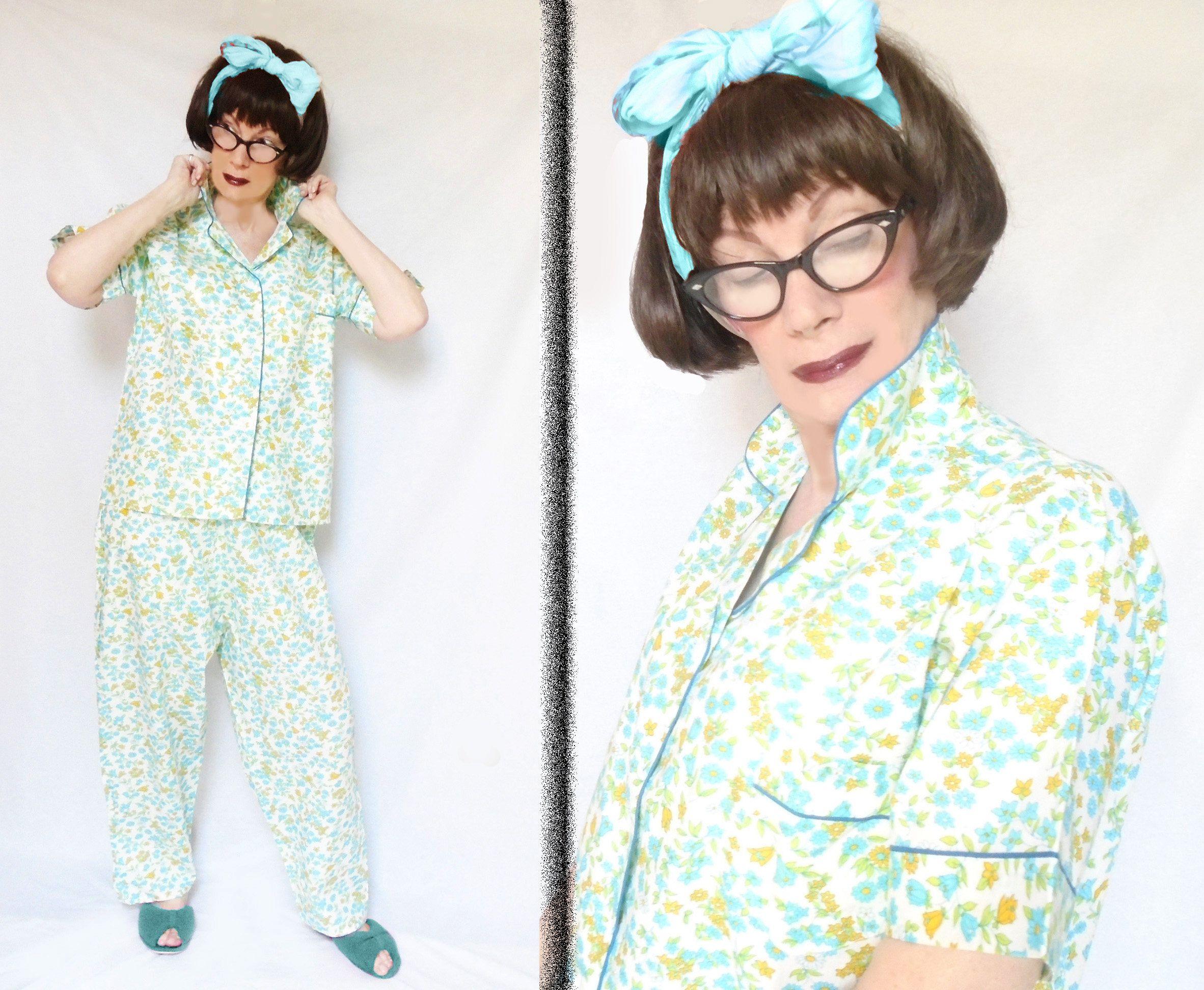 Plus Size Vintage Pajamas Womens 50s Cotton Pjs 1950s Cotton Plus Size Vintage Plus Size Sleepwear Vintage Pajamas
