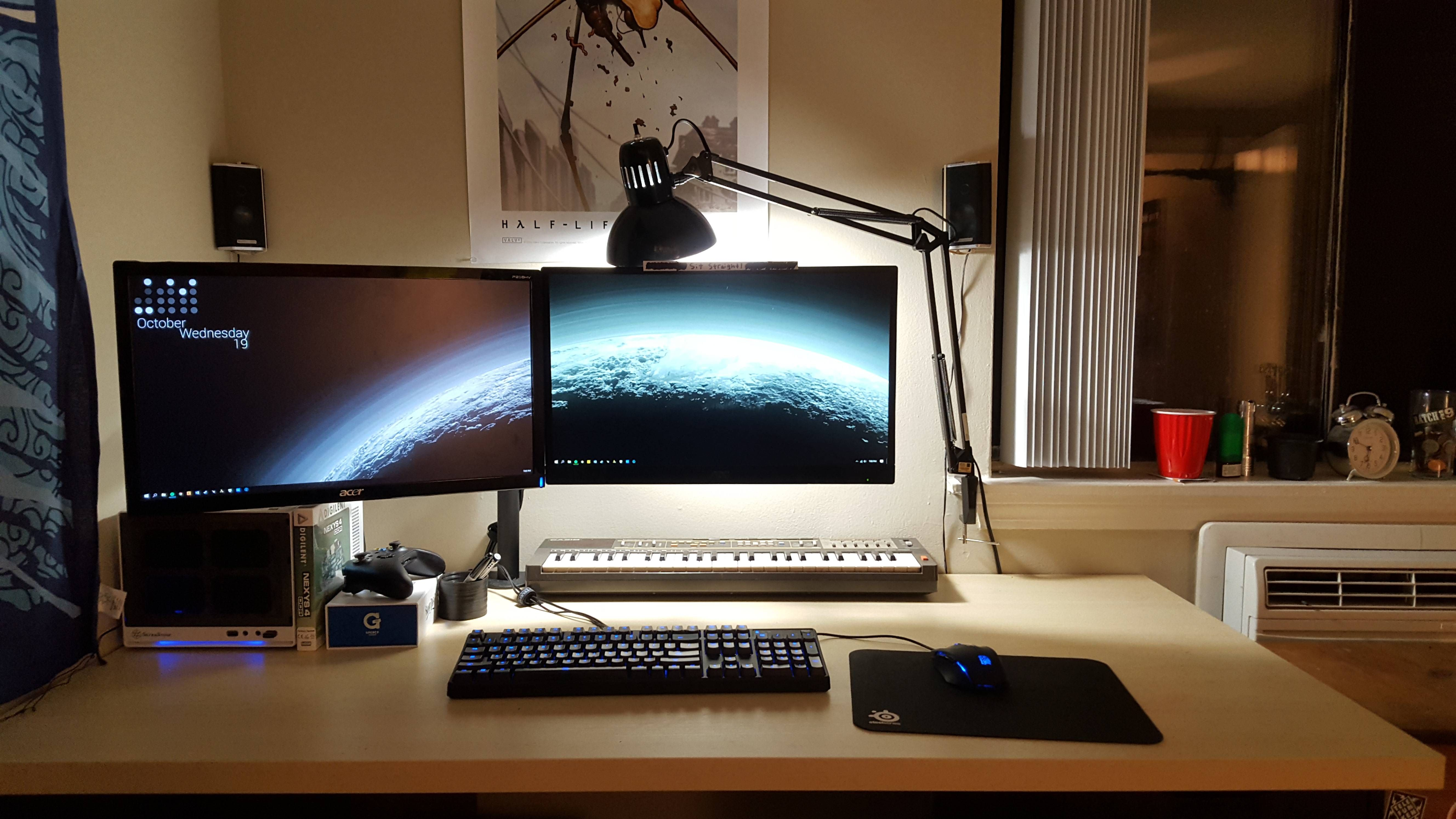 Mini Itx With Floating Dual 1080p Monitors On A Big Pale Ikea Table Top Office Desk Set Walmart Home Gaming Desk Setup