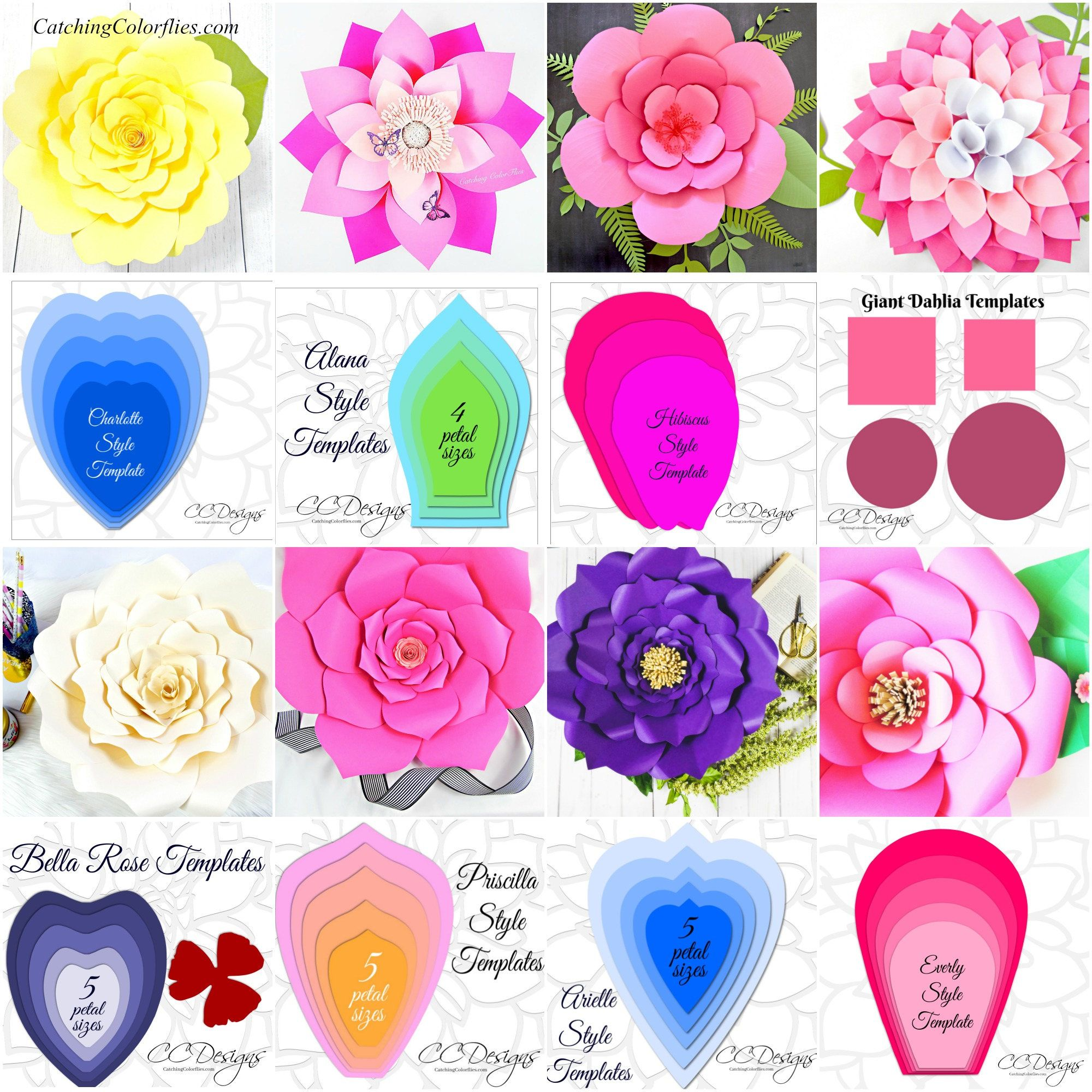 Large Paper Flowers Paper Rose Templates Giant Flower Parties
