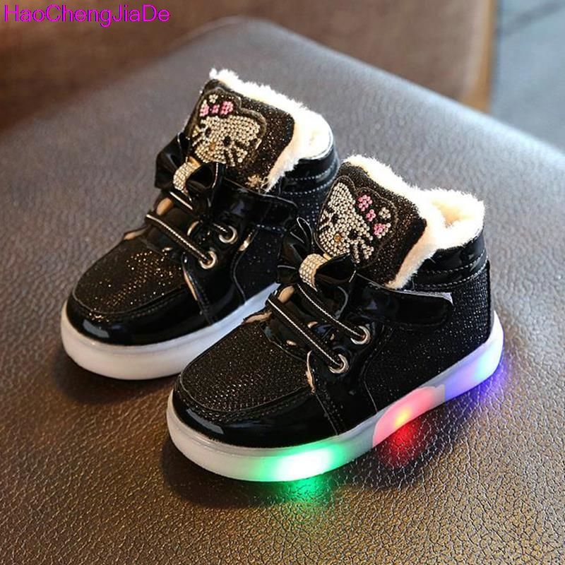 Led kids shoes kitty light licht children sneakers kinder schuhe fNbFbqiul0