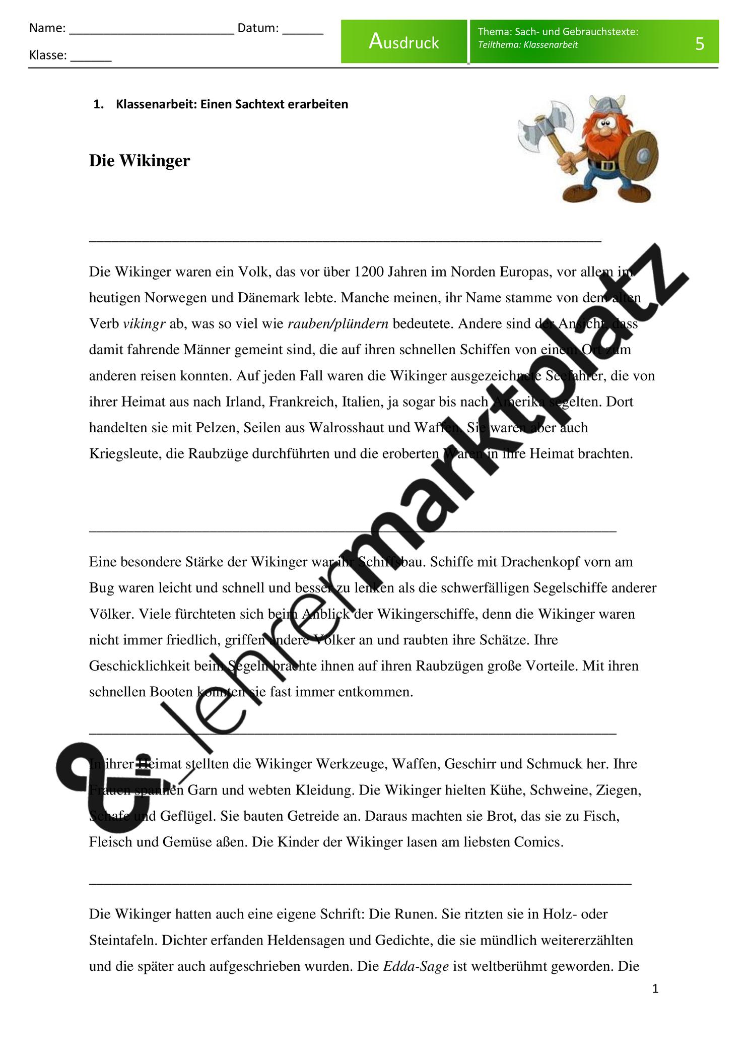 Sachtexte Klassenarbeit Die Wikinger Mit Differenzierung Und Losungen Unterrichtsmaterial Im Fach Deutsch Klassenarbeiten Erste Klasse Arbeit