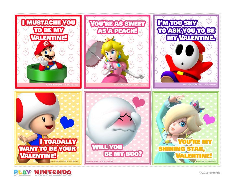 Mario Printable Valentine Cards Valentine S Ideas Pinterest