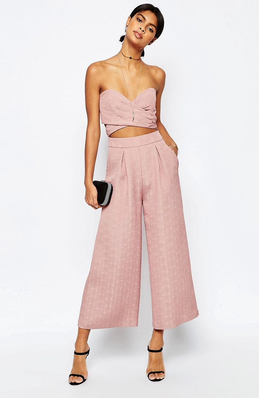 ASOS Two in One Jumpsuit in Dusky Pink | glamour | Pinterest | Top ...