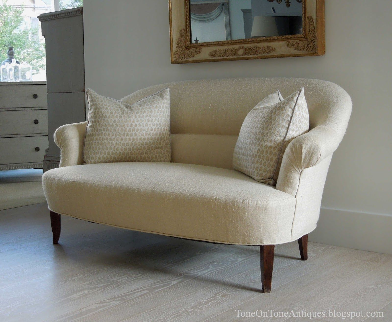 bleached antique french linen upholstery - Google Search