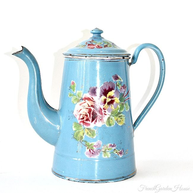 Exceptional Antique French Rose & Pansy Floral Enamelware Coffee Pot Bleu #coffeepots