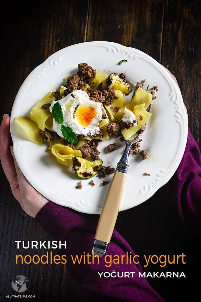 Turkish Noodles with Garlic Yogurt - Yoğurt Makarna | All that's Jas This classic Turkish dish com