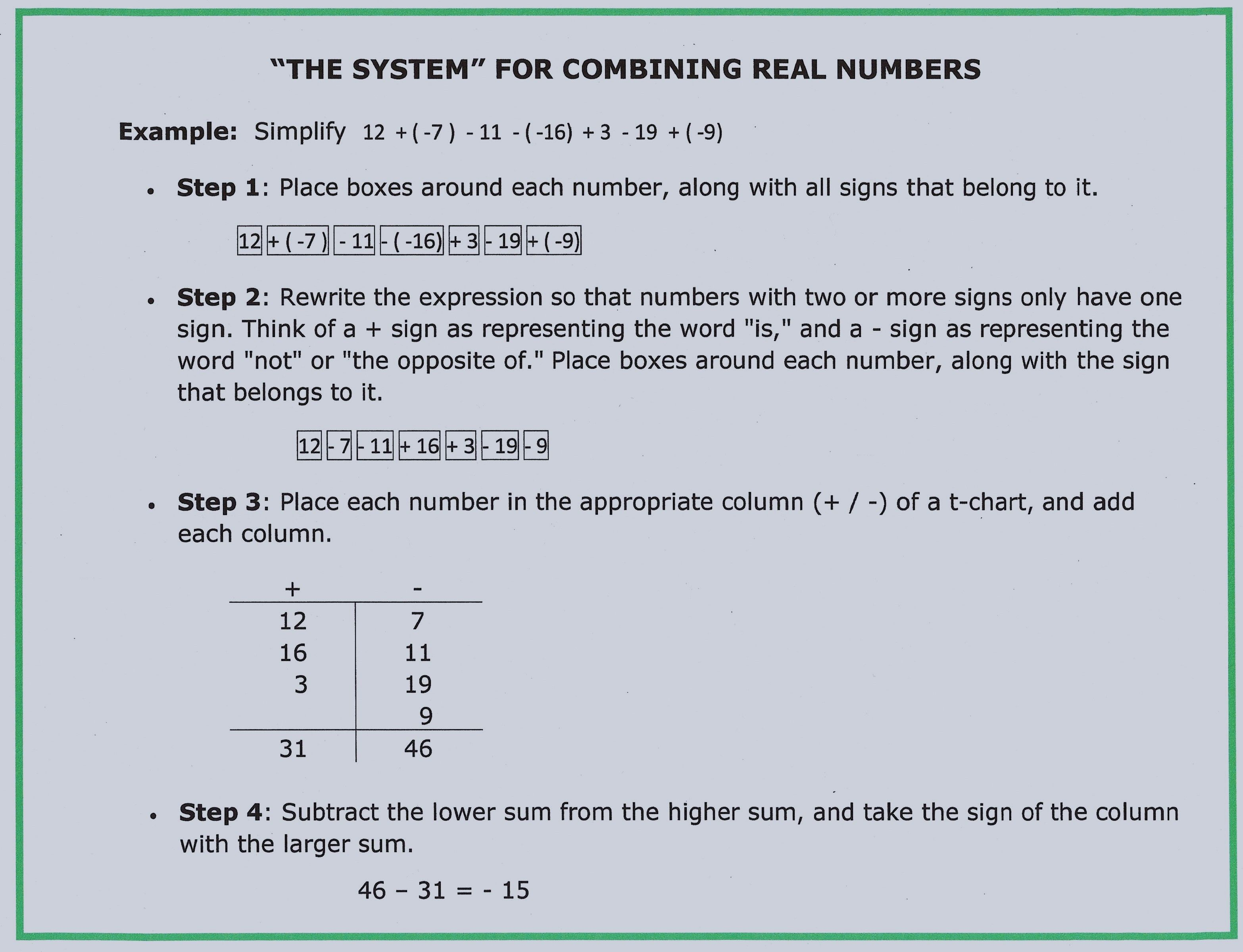 Combining Integers Instead Of Adding And Subtracting Them